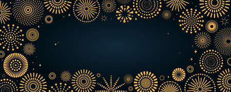 Golden fireworks frame, bright on dark background, with copy space. Flat style vector illustration. Abstract geometric design. Concept for New Year, birthday greeting card, poster, banner, flyer.