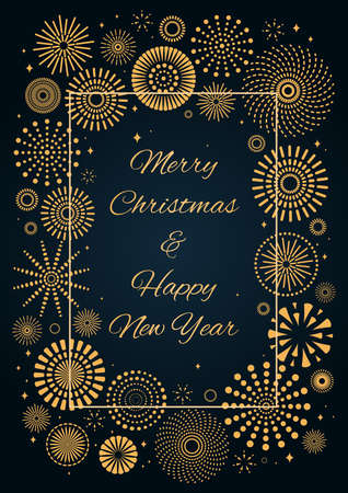Golden fireworks, text Merry Christmas and Happy New Year, on dark background. Flat style vector illustration. Abstract geometric design. Concept for holiday greeting card, poster, banner, flyer.