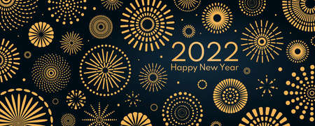 Golden fireworks 2022 Happy New Year, bright on dark background, with text. Flat style vector illustration. Abstract geometric design. Concept for holiday greeting card, poster, banner, flyer. Stock Illustratie