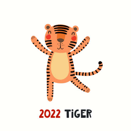 Cute cartoon tiger, Asian zodiac sign, astrological symbol, isolated on white. Hand drawn vector illustration. Flat style design. 2022 Chinese New Year card, banner, poster, horoscope element.