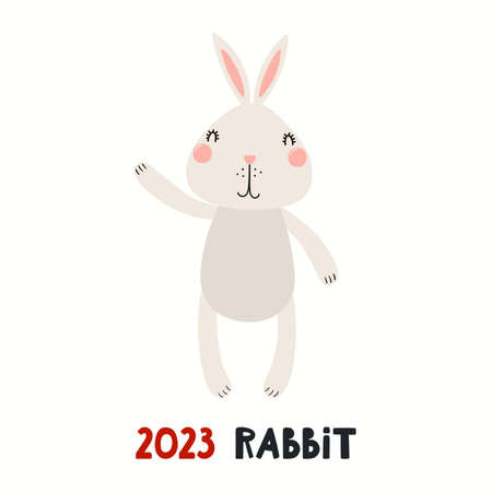 Cute cartoon rabbit, Asian zodiac sign, astrological symbol, isolated on white. Hand drawn vector illustration. Flat style design. 2023 Chinese New Year card, banner, poster, horoscope element. Stock Illustratie