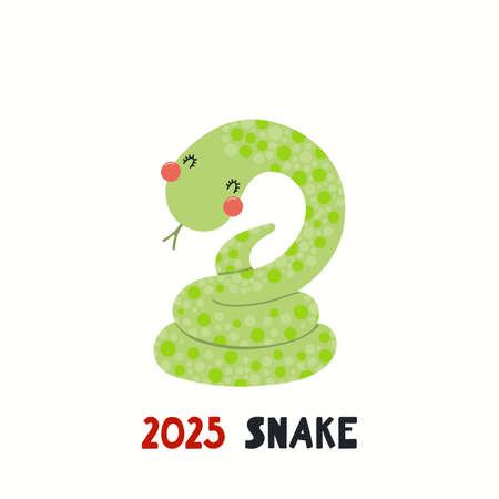 Cute cartoon snake, Asian zodiac sign, astrological symbol, isolated on white. Hand drawn vector illustration. Flat style design. 2025 Chinese New Year card, banner, poster, horoscope element. Stock Illustratie