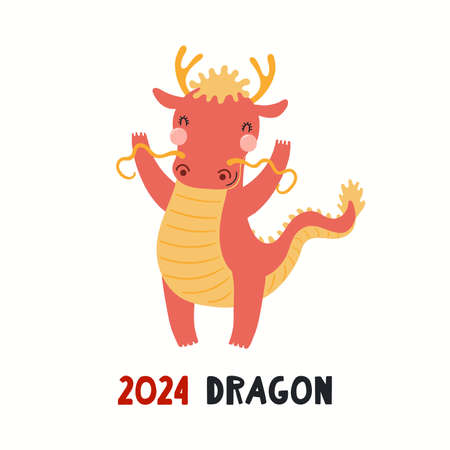 Cute cartoon dragon, Asian zodiac sign, astrological symbol, isolated on white. Hand drawn vector illustration. Flat style design. 2024 Chinese New Year card, banner, poster, horoscope element.