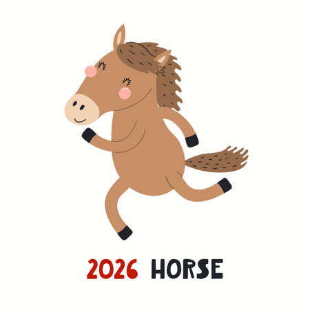Cute cartoon horse, Asian zodiac sign, astrological symbol, isolated on white. Hand drawn vector illustration. Flat style design. 2026 Chinese New Year card, banner, poster, horoscope element.