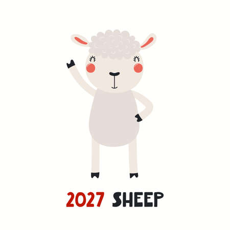 Cute cartoon sheep, Asian zodiac sign, astrological symbol, isolated on white. Hand drawn vector illustration. Flat style design. 2027 Chinese New Year card, banner, poster, horoscope element. Stock Illustratie