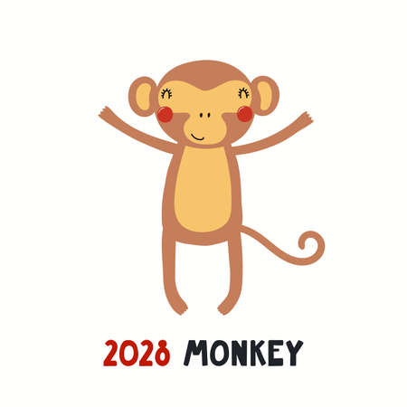 Cute cartoon monkey, Asian zodiac sign, astrological symbol, isolated on white. Hand drawn vector illustration. Flat style design. 2028 Chinese New Year card, banner, poster, horoscope element. Stock Illustratie