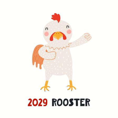 Cute cartoon rooster, Asian zodiac sign, astrological symbol, isolated on white. Hand drawn vector illustration. Flat style design. 2029 Chinese New Year card, banner, poster, horoscope element.