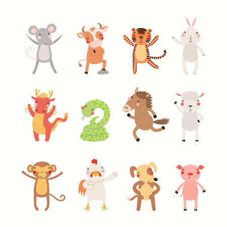 Twelve animals of Chinese zodiac, cute cartoon Asian astrological signs collection, isolated on white. Hand drawn vector illustration. Flat style design. New Year card, banner, horoscope element. Stock Illustratie