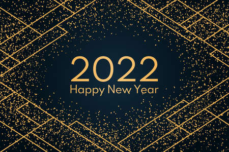 2022 Happy New Year, golden glitter, geometric elements on a dark background, with text. Flat style vector illustration. Abstract design. Concept for holiday greeting card, poster, banner, flyer.