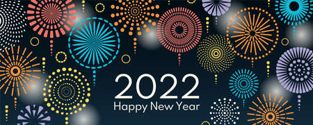 Colorful fireworks 2022 Happy New Year, bright on dark background, with text. Flat style vector illustration. Abstract geometric design. Concept for holiday greeting card, poster, banner, flyer. Stock Illustratie