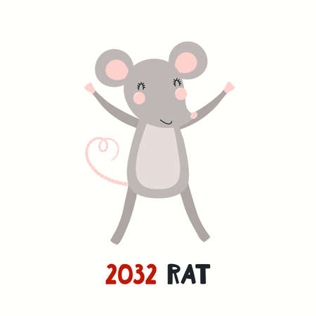 Cute cartoon rat, Asian zodiac sign, astrological symbol, isolated on white. Hand drawn vector illustration. Flat style design. 2032 Chinese New Year card, banner, poster, horoscope element. Stock Illustratie