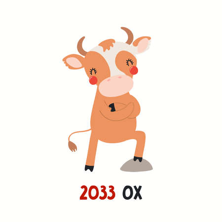 Cute cartoon ox, Asian zodiac sign, astrological symbol, isolated on white. Hand drawn vector illustration. Flat style design. 2033 Chinese New Year card, banner, poster, horoscope element.