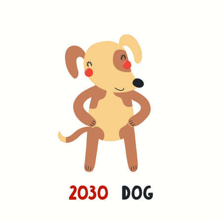 Cute cartoon dog, Asian zodiac sign, astrological symbol, isolated on white. Hand drawn vector illustration. Flat style design. 2030 Chinese New Year card, banner, poster, horoscope element.