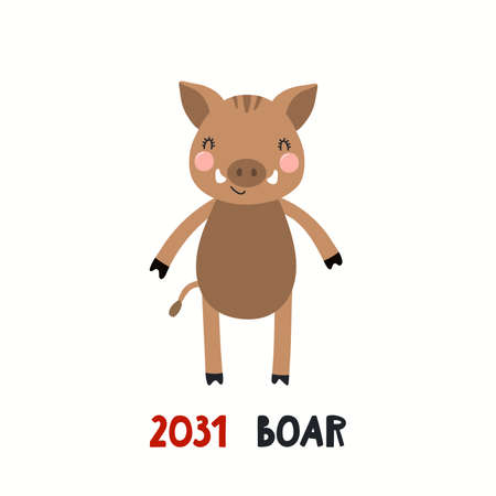 Cute cartoon wild boar, Asian zodiac sign, astrological symbol, isolated on white. Hand drawn vector illustration. Flat style design. 2031 Japanese New Year card, banner, poster, horoscope element.