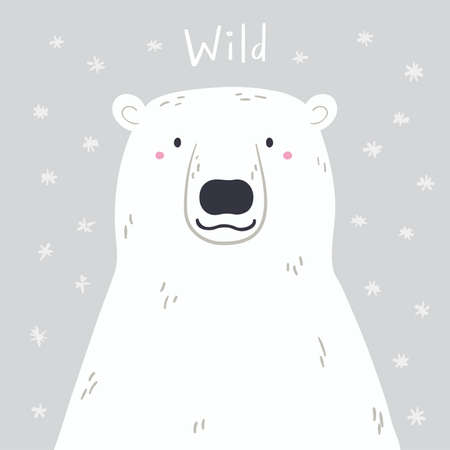 Cute cartoon polar bear portrait, quote Wild, snow. Hand drawn vector illustration. Winter animal character. Arctic wildlife. Design concept for kids fashion print, poster, baby shower, card.