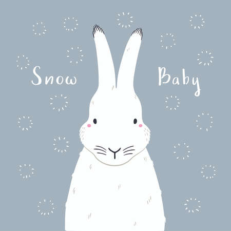 Cute cartoon arctic hare portrait, quote Snow baby. Hand drawn vector illustration. Winter animal character. Arctic wildlife. Design concept for kids fashion print, poster, baby shower, card.