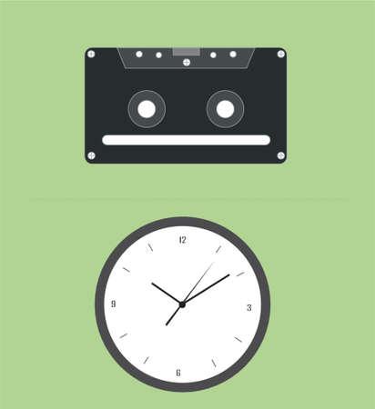 clock radio: la m�sica y el tiempo Vectores