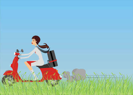 vectorial girl in vespa Illustration