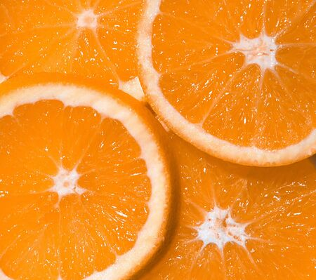 Juicy tranches d'une orange  Banque d'images