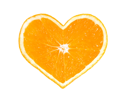 Orange heart isolated on white backgrount .