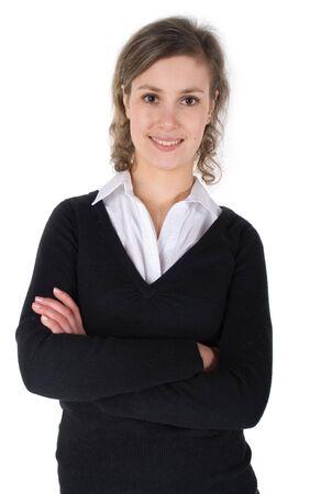 Souriant femme isol�e sur fond blanc