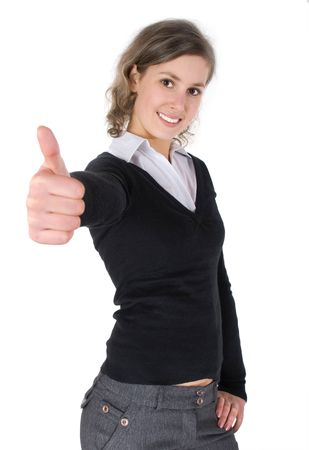 thumbs up symbol: Portrait of a girl with a thumb up, focus on face. Stock Photo