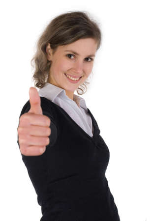 Portrait of a girl with a thumb up, focus on face. Stock Photo