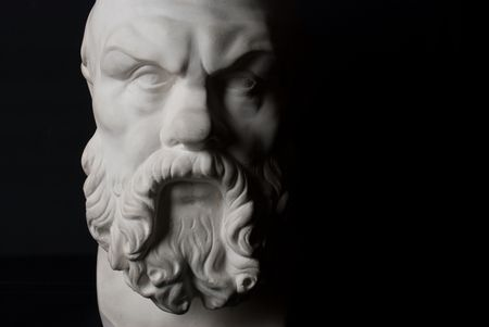 Socrates statue isolated on black background Stock Photo