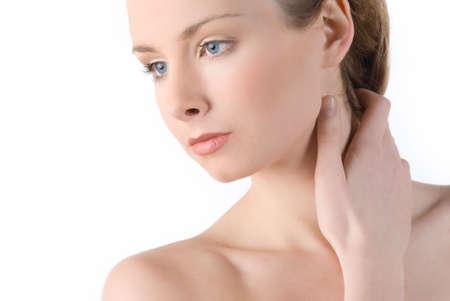 Belle fille avec une parfaite peau isol�e sur fond blanc  Banque d'images