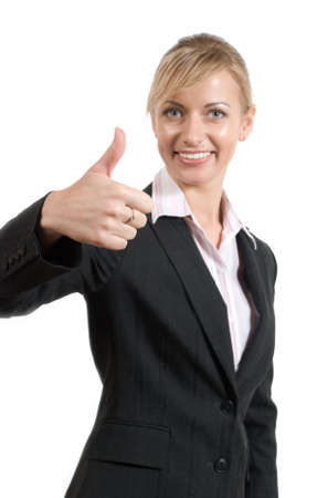 Portrait of women in business suit and white shirt with thumb up (focus on hand) on a white background Stock Photo - 2896992