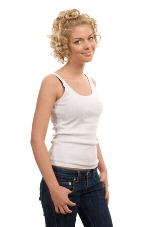 Portrait of a beautiful curly blonde girl isolated on a white background