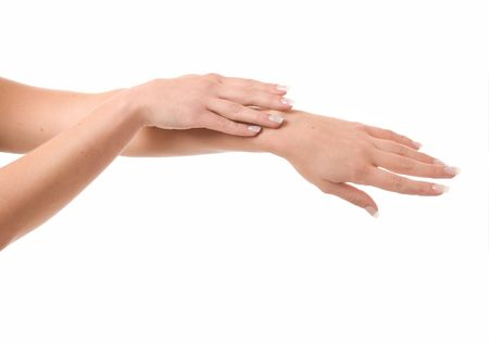 Women's hands on isolated a white background Stock Photo - 3082692