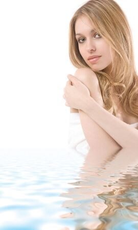 Portrait of beautiful young woman in water isolated on white background Stock Photo - 3173056