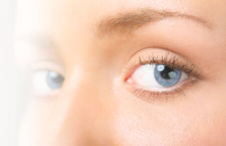 Macro photography blue eyes of young girl Stock Photo - 3235822