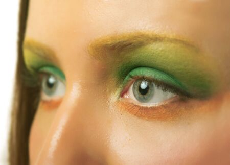 Macro photography of eyes with make up of young girl Stock Photo - 3235825