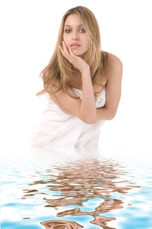 Portrait of beautiful young woman in water on white background Stock Photo - 3319700