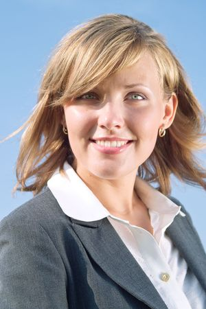 Portrait of successful business lady in grey suit Stock Photo - 3468024