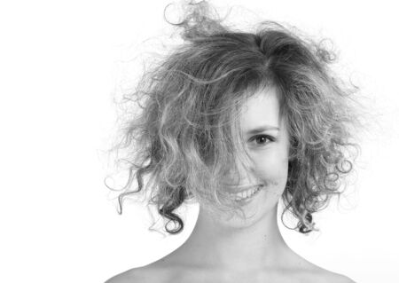 isilated: Girl with crazy hair isilated on a white background Stock Photo
