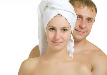 Men and women after taking baths. On a white background. photo