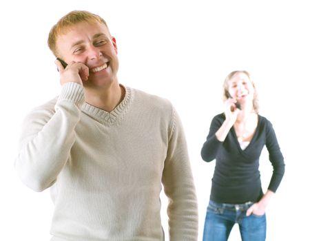 Couple talking on phone. Isolated on a white background. Stock Photo - 3755910