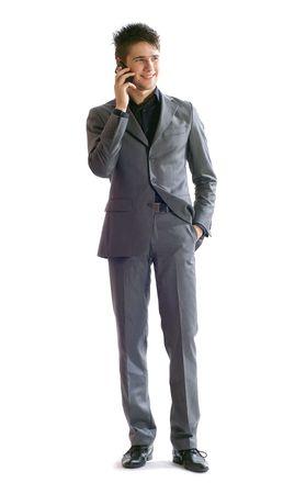 Portrait de jeune homme d'affaires, isol� sur un fond blanc. Banque d'images