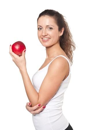 egy fiatal nő csak a: Studio shoot, mosolygós, nő, piros alma, fehér alapon