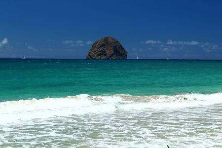 diamond rock seen from the beach in Martinique Stock Photo