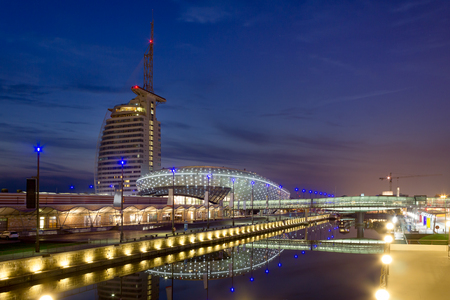 Havenwelten in Bremerhaven at Night During Blue Hour