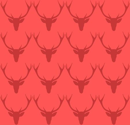 Christmas colorful deer head pattern. December background. Gift motive. Vector illustration.