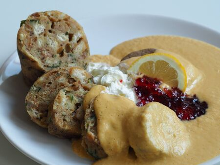 Roast sirloin in sour cream sauce with Karlsbad dumplings - detail Traditional Czech food Stock Photo
