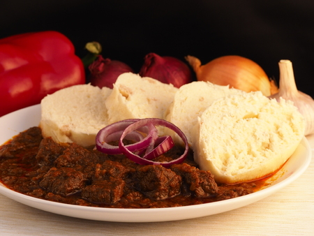 Homemade beef goulash with dumplings. Traditional, czech, slovak, hungary and austria food.