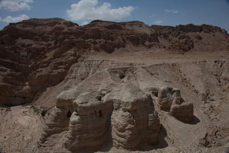 judea: A shot of cave number 4 at Qumran in the Judean desert in Israel where the majority of the scrolls were found.