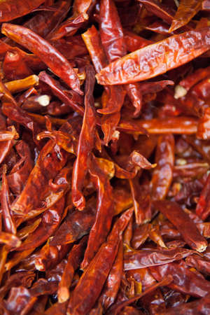 spicey: Dried spicey red chillies being sold at the market Stock Photo
