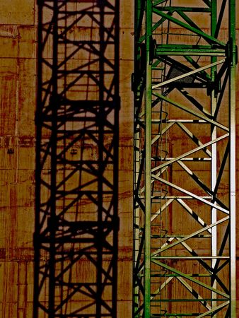 abstractly: Abstractly, crane before a wall works on Stock Photo